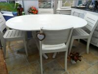 Shabby chic, vintage 5 ft, table and 4 x chairs, newly finished in vanille