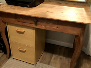 Solid Wood desk with dovetail joints, burl
