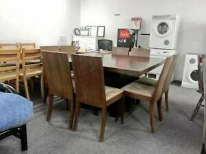 TODAY DELIVERY 9 pcs BIG SQUARE BROWN WOODEN dining table