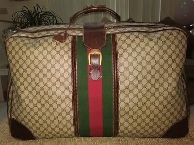 """Vintage Gucci 27"""" Suitcase - Signature GG Canvas & Brown Leather"""