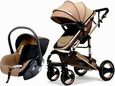 3 in1 Kinderwagen Kombikinderwagen Babyschale Buggy Sportsitz Babywanne Gold Neu