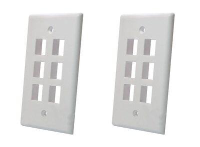 2 Pack - 6 Port Hole Keystone Insert CAT RJ45 HDMI Audio Module Wall Plate WHITE 2 Port Wall Plate Insert