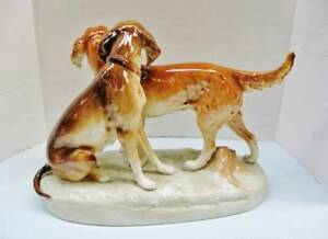 1950s LARGE Kunst Hunting Dogs Figurine signed numbered RARE