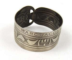 MARC-JACOBS-Gunmetal-Silver-Tribal-Adjustable-Cuff-Bracelet-NEW