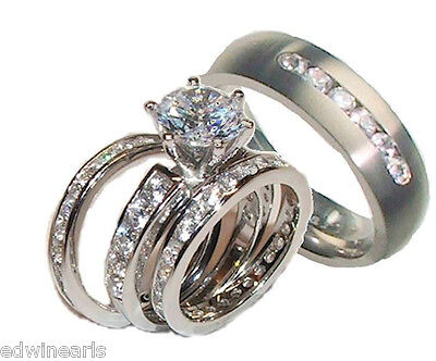 his and hers wedding rings 4 piece cz ring set sterling silver titanium