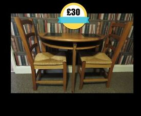 Half Moon Wooden Dining Table and 2 chairs