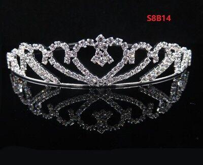 Bridal Heart Crown Head Tiara Crystal Hair Pageant Princess Queen Birthday S8B14 - Tiara Birthday