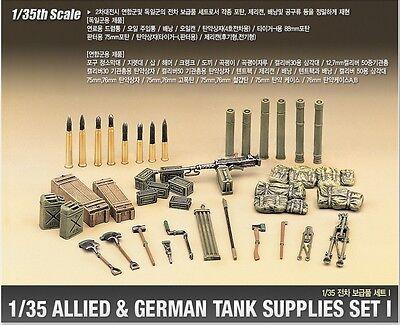 Academy 1382 1/35 Plastic Model Kit Allied & German Tank Supplies Set I NEW