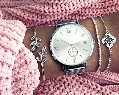 Armbanduhr Damen Metall Uhr Silber Gold Elegant Rosegold Klassisch Mesh Quarz ♥