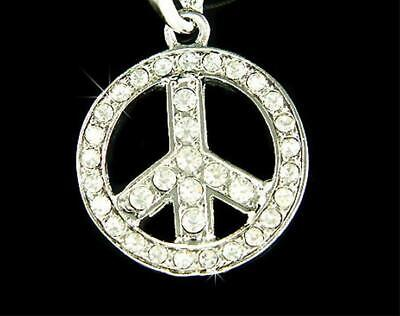 CRYSTAL PEACE SIGN LOVE HIPPIE pendant SILVER 20