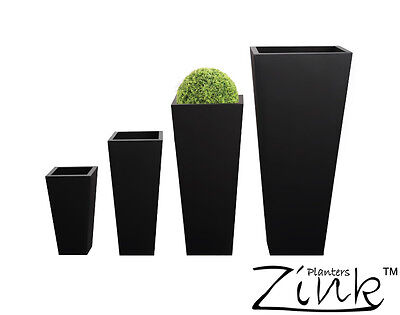 Zinc Black Tall Flared Square Planter Metal Plant Pot Garden Patio Galvanised