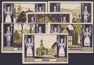 Notgeld Schneeberg 6 versch. 50 Pfennig Scheine, Lot