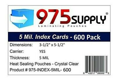 975 Supply 5 Mil Index Card Laminates - 3.5 X 5.5 600pack