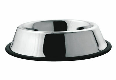 (High Quality) - Anti Slip Rubber Rim Stainless Steel Pet Dog Bowl Dish (16 oz)