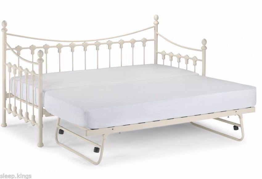 Good WHITE BRAND NEW DAYBED VERSAILLES WITH UNDER BED PULL OUT TRUNDLE METAL 3FT  FRAME