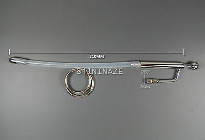 Stainless Steel Long Male Urethral Dilatator Sounds Plug Silicone Tube 210mm