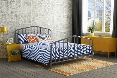 Queen Size Metal Bed Frame w/ Headboard & Footboard Bedroom Gray Color New