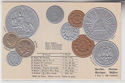 69868 Präge Ak Mexiko mit Abbildungen von Münzen um 1920