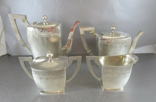 LOVELY CHINESE EXPORT STERLING 4 PC TEA & COFFEE SET. ART DECO, HAND HAMMERED CJ