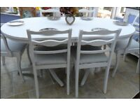 "Shabby chic, 5 ft 5"", vintage extendable table and 6 x upholstered chairs"