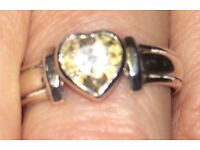 Solitaire loveheart ring cz sterling silver sz M
