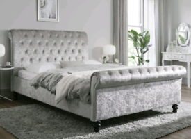 Double, King or Single Sleigh bed frame (mattress available)