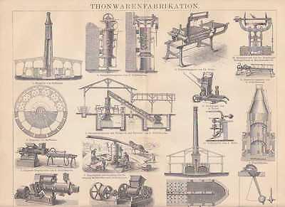Keramikherstellung Ziegelofen HOLZSTICH von 1886 Tonwarenherstellung