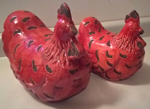 Large Pair Of  Red & Brown Rooster And Hen Ceramic