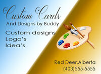 graphic artist available for logos,card designs and ideas.thx