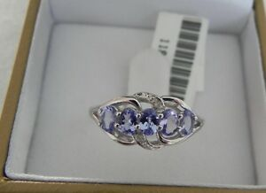 New Genuine Tanzanite with Diamonds Triple Wave Ring  1.01 CTW