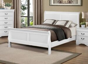 Single sleigh bed frame complete with slats, 3 colors,NEW in box