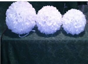 WEDDING DECORATIONS, 15 WHITE & PURPLE FLOWER BALLS $260 FOR ALL