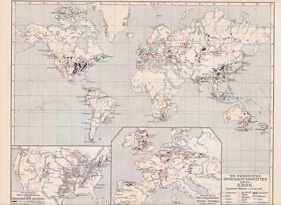 MINERALIEN Fundstätten Erde Öl Kohle KARTE von 1907 Gold Silber Mangan Salpeter