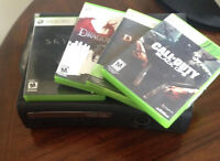xbox 360, 2 controllers and games