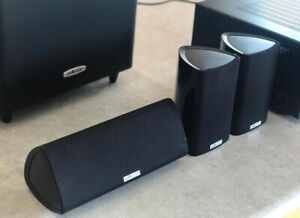 POLK audio sound system with amplifier and sub woofer