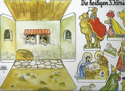 Alte Papierkrippe Weihnachtskrippe Die heiligen drei Könige 70er Topzustand!
