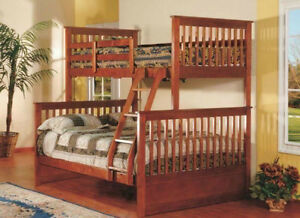 BRAND NEW REAL SOLID WOOD SINGLE OVER DOUBLE BUNK BED Kitchener / Waterloo Kitchener Area image 3