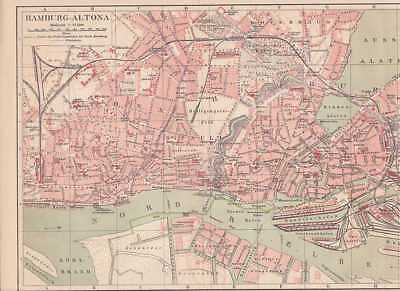HAMBURG Altona Roter Baum St. Pauli STADTPLAN von 1889 St. Georg Borgfelde
