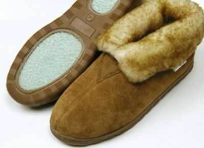 Men Sheepskin Shearling Bootie Shoe Slipper Moccasins Medium (D,M)