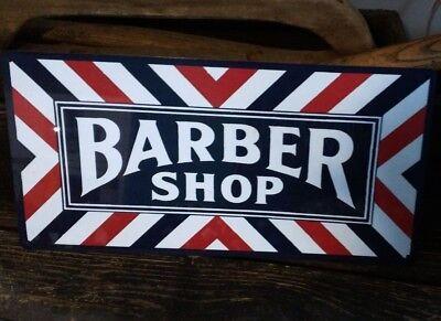 Barber shop metal sign vintage image retro Red White Blue 6 x 12 50027