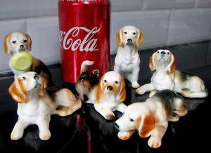 Collection Miniature 6 Chien Beagle Dog Giftcraft Bone China