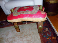 Vintage Red Leather & Wood Egyptian Camel Saddle Seat, Foot Stoo