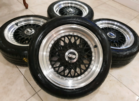 "15"" BBS RS STYLE ALLOY WHEELS 4X100 4X108 MAZDA MX5 VW POLO BMW E30 RZ, used for sale  Burnley, Lancashire"