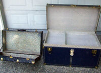 Antique metal Trunk and Suitcase