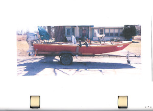 All Wood 21' River Boat, Motor & Trailer