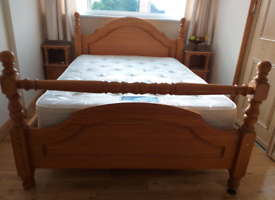 Solid pine double bedframe with mattress