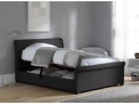 Wilson Grey Fabric Upholstered Ottoman Bed Frame 4'6 Double including Mattress