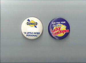 1960'S METAL ADVERTISING SUNOCO BUTTONS ~ 2 DIFFERENT