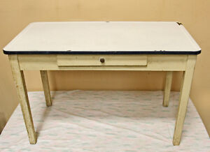 Rustic Enameled Top Kitchen Work Table SEE VIDEO