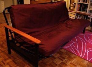 Futon avec housse de recouvrement - lit double 52 x 70''
